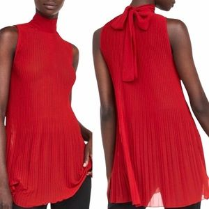 ZARA Red Sleeveless Pleated Top with Bow Detail
